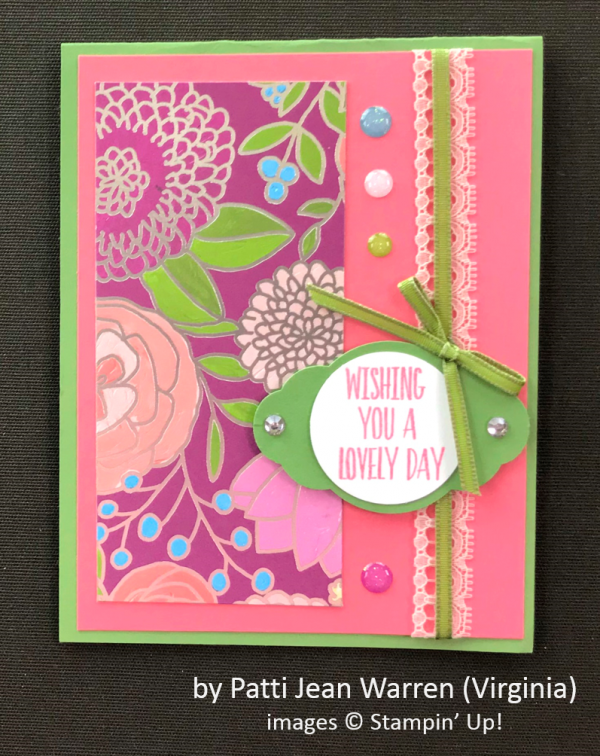 by Patti Jean Warren, Stampin' Up!, Spring One-for-One Card Swap