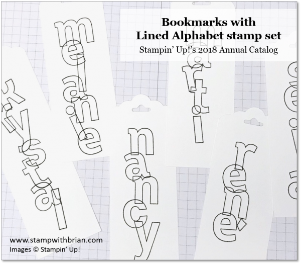 Personalized Lined Alphabet Bookmarks, Stampin' Up!, Brian King