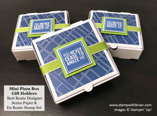 Mini Pizza Box Gift Holders, Best Route Designer Series Paper, En Route, Stampin' Up!, Brian King