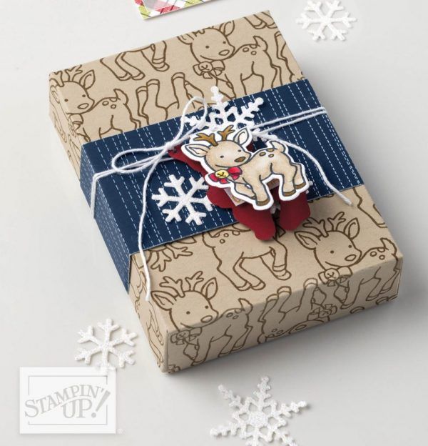 Seasonal Chums, Stampin' Up!, handmade gift wrap