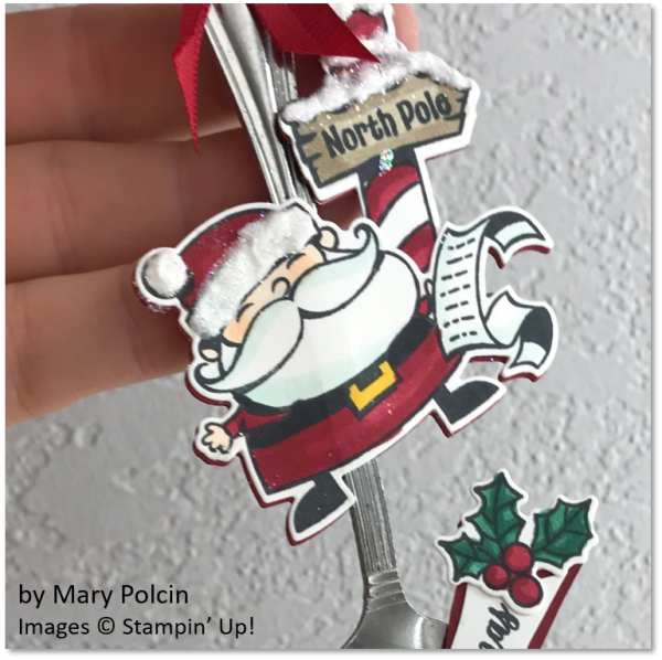 Signs of Santa Christmas Spoon Ornament by Mary Polcin, Stampin' Up!