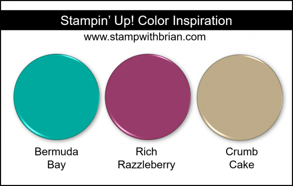 Stampin' Up! Color Inspiration - Bermuda Bay, Rich Razzleberry, Crumb Cake