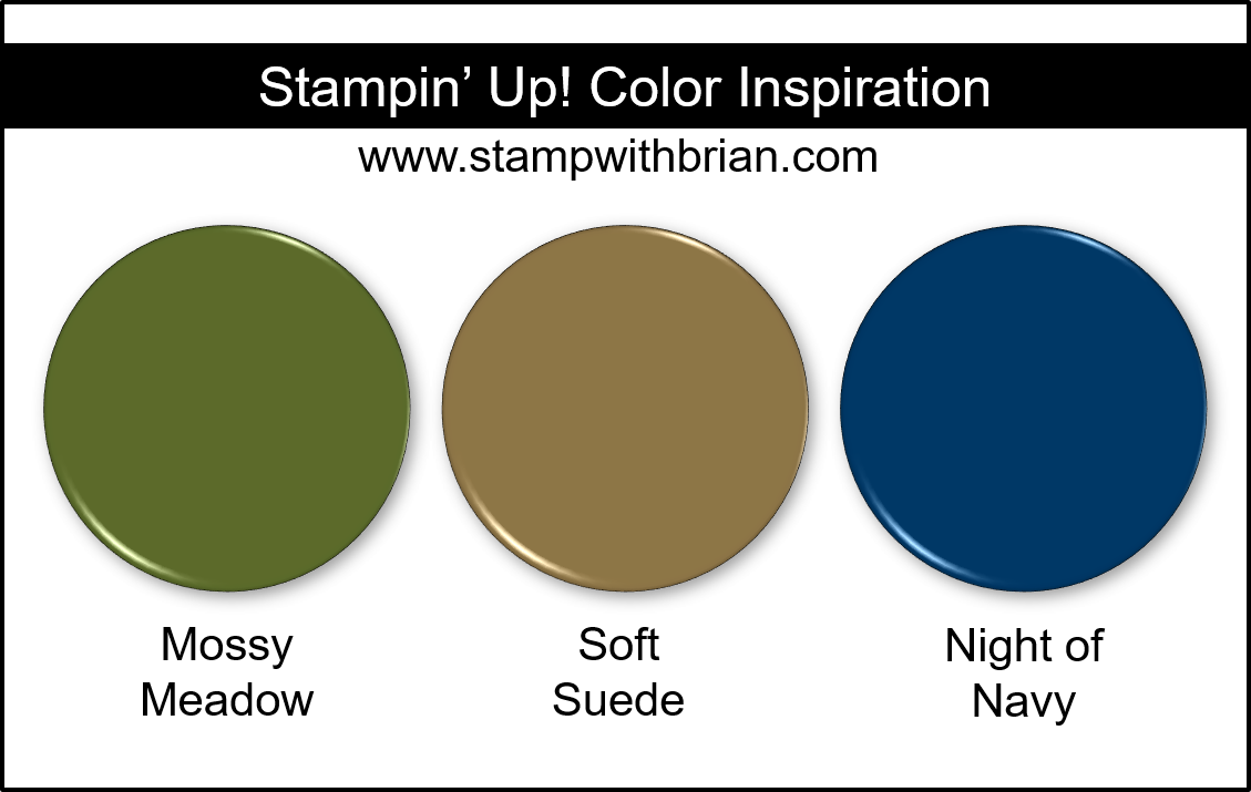 Stampin' Up! Color Inspiration - Mossy Meadow, Soft Suede, Night of Navy