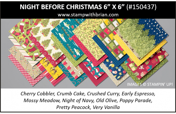 """Night Before Christmas 6"""" x 6"""" Designer Series Paper, Stampin' Up! 2019 Holiday Catalog, 150437"""