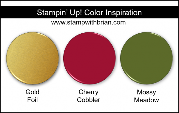 Stampin' Up! Color Inspiration - Gold Foil, Cherry Cobbler, Mossy Meadow