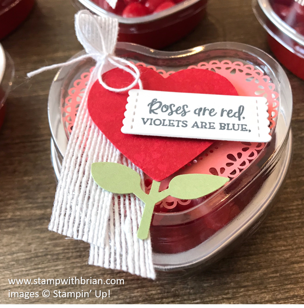 Heart Tin Cups, From My Heart Suite, Valentine's Day treats, Stampin Up!, Brian King