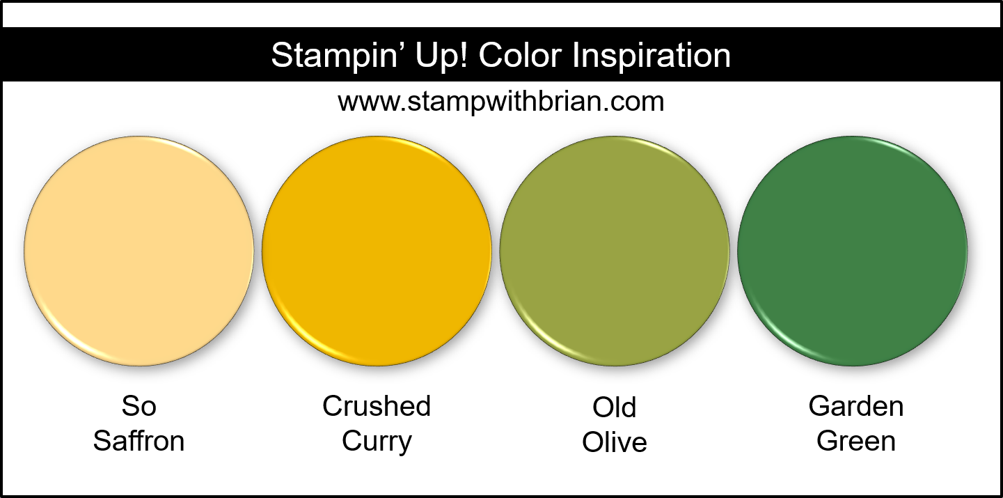 Stampin Up! Color Inspiration - So Saffron, Crushed Curry, Old Olive, Garden Green