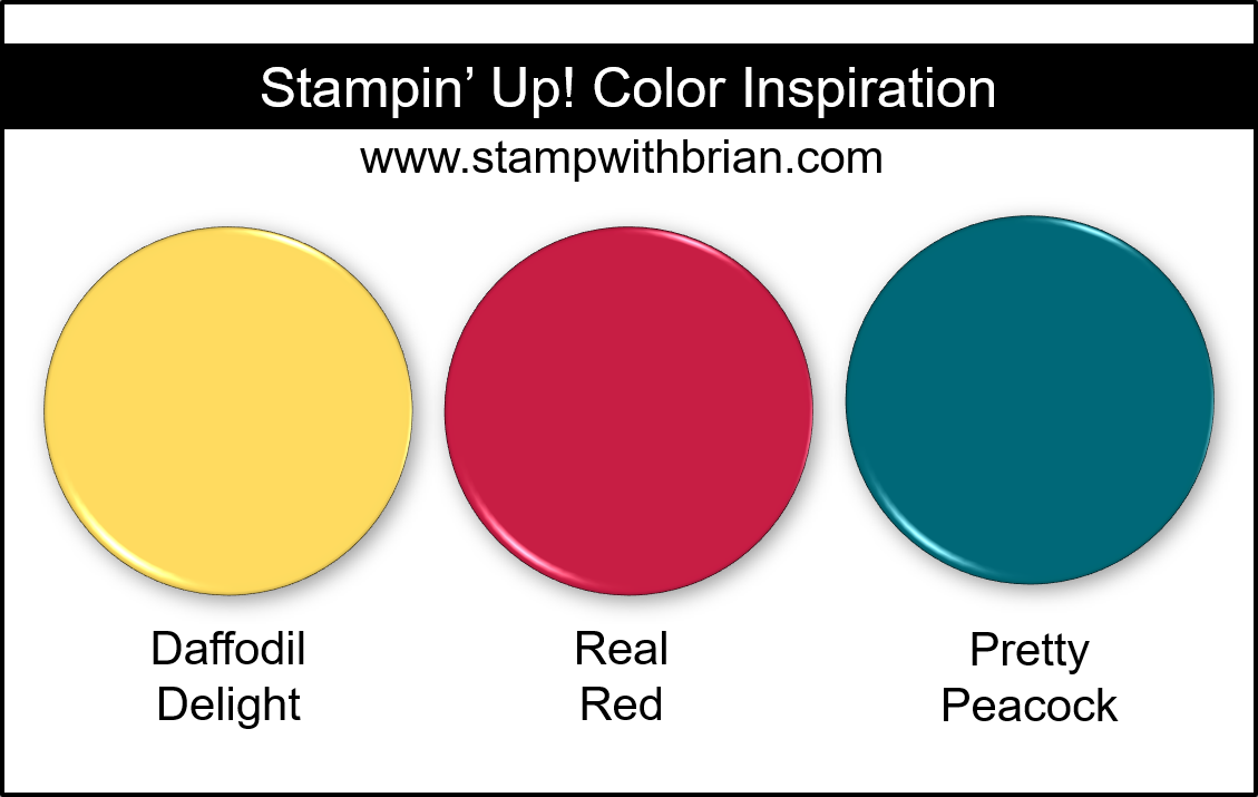 Stampin Up! Color Inspiration - Daffodil Delight, Real Red, Pretty Peacock